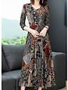 Γυναικεία Φόρεμα σε γραμμή Α Φόρεμα μέχρι το γόνατο Χρώμα Μακρυμάνικο Λουλούδι Άνοιξη Καλοκαίρι Καθημερινό 2021 M L XL XXL 3XL