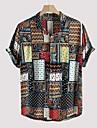 Per uomo Camicia Tribale Bottone giu Manica corta Casuale Top Leggero Casuale Di tendenza Traspirante Arcobaleno