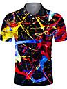 男性用 ゴルフシャツ テニスシャツ 3Dプリント 勾配 ボタンダウン 半袖 ストリート トップの カジュアル ファッション クール 高通気性 ブラック / スポーツ