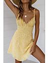 Women\'s Swing Dress Short Mini Dress Yellow Sleeveless Print Summer V Neck Holiday Casual / Daily 2021 S M L XL / Beach