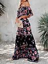 Women\'s Swing Dress Maxi long Dress Black background Short Sleeve Print Spring Summer Casual / Daily 2021 S M L XL XXL XXXL
