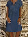 Women\'s Denim Dress Knee Length Dress Blue Short Sleeve Solid Color Front Tie Denim Spring Summer Round Neck Denim Comfortable Loose 2021 M L XL XXL XXXL