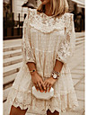 Women\'s Shift Dress Short Mini Dress White Beige 3/4-Length Sleeve Solid Color Embroidered Lace Spring Summer Round Neck Casual Lace 2021 S M L XL XXL 3XL