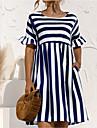 Women\'s A Line Dress Knee Length Dress Yellow Blushing Pink Black Dark Blue Short Sleeve Stripes Summer Round Neck Casual Loose 2021 S M L XL