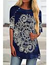 Kadın\'s Tunika Kısa elbise Koyu Mavi Yarım Kol Çiçekli Desen Desen Bahar Yaz Yuvarlak Yaka Günlük 2021 S M L XL XXL 3XL