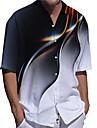 男性用 Tシャツ シャツ 3Dプリント グラフィック プラスサイズ 3Dプリント ボタンダウン 半袖 カジュアル トップの カジュアル ファッション ストリートファッション 高通気性 ブルー パープル グレー / スポーツ