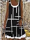 Women\'s Shift Dress Knee Length Dress Black Sleeveless Striped Print Spring Summer Boat Neck Casual Holiday Loose 2021 S M L XL XXL 3XL