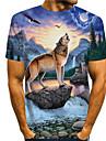 Hombre Tee Camiseta Camisa Impresion 3D Estampados Lobo Estampado Manga Corta Diario Tops Casual De Diseno Grande y alto Escote Redondo Azul Piscina / Verano