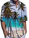 男性用 シャツ 3Dプリント 自然风光 ココナッツの木 プラスサイズ 3Dプリント ボタンダウン 半袖 カジュアル トップの カジュアル ファッション ストリートファッション 高通気性 ホワイト / スポーツ