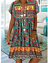 Women\'s T Shirt Dress Tee Dress Knee Length Dress Green Sky Blue Beige Short Sleeve Print Animal Print Spring Summer V Neck Casual / Daily Boho 2021 S M L XL XXL XXXL 4XL 5XL