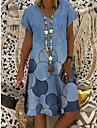 Women\'s A Line Dress Knee Length Dress Blue Royal Blue Light Blue Short Sleeve Floral Print Geometric Print Spring Summer V Neck Elegant Casual 2021 S M L XL XXL 3XL 4XL 5XL