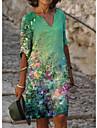 női vonalas ruha térdig érő ruha kék zöld fehér fekete világos zöld bézs fél ujjú virágmintás nyomtatás tavaszi nyár v nyak elegáns alkalmi szüret 2021 s m l xl xxl 3xl