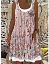 Women\'s Shift Dress Knee Length Dress Blushing Pink Black Beige Sleeveless Print Summer Round Neck Casual 2021 S M L XL XXL 3XL