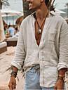 Bărbați Tricouri Cămașă Culoare solidă Manșon Lung Stradă Topuri Bumbac Simplu Ușor Respirabil Comfortabil Guler cu Nasturi Jos Trifoi Alb / Plajă