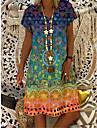 Women\'s T Shirt Dress Tee Dress Knee Length Dress Blue Yellow khaki Green Short Sleeve Print Spring Summer Casual / Daily 2021 S M L XL XXL XXXL 4XL 5XL