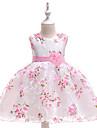 barn smaa jentekjole blomsterfest print prinsesse tyll kjole blomsterkonkurranse lagdelt blomster sloeyfe hvit rosa blonder tyll bomull ermeloes mote vintage kjoler 2-10 aar