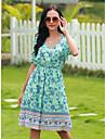 Women\'s Swing Dress Knee Length Dress Blue-Green Short Sleeve Print Spring Summer Casual / Daily 2021 M L XL 2XL 3XL
