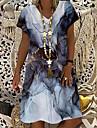 Női Pólóruha Térdig érő ruha Lóhere Fekete Rövid ujjú Nyomtatott Színes Nyomtatott Tavasz Nyár V-alakú Alkalmi Szabadság 2021 S M L XL XXL 3XL