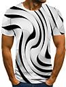 בגדי ריקוד גברים יוניסקס טי שירטס חולצה קצרה חולצה הדפסת תלת מימד 3D הדפסים גרפיים מידות גדולות דפוס שרוולים קצרים קזו\'אל צמרות בסיסי אופנתי מעצב גדול וגבוה צווארון עגול שחור לבן