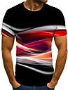 Муж. Универсальные Футболки Футболка Рубашка 3D печать Графические принты Проточная вода Большие размеры С принтом С короткими рукавами Повседневные Верхушки / Круглый вырез