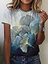 Dámské Květinový motiv Tričko Rostliny Grafika Tisk Kulatý Základní Topy Vodní modrá