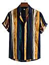 Per uomo Camicia A strisce Bottone giu Manica corta Casuale Top Casuale Di tendenza Hawaiano Traspirante Giallo / Spiaggia