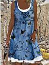 Women\'s Strap Dress Knee Length Dress Light Blue Sleeveless Floral Animal Print Summer Boat Neck Elegant Casual Holiday 2021 S M L XL XXL 3XL