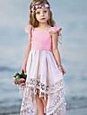 barn smaa jentekjole uformell prinsesse fargeblokk dusk plissert asymmetrisk roedmende rosa ferie boho kjoler sommer