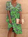 Women\'s A Line Dress Knee Length Dress Light Blue Blue Yellow Gray Green Orange Short Sleeve Pattern Summer Casual 2021 S M L XL 2XL 3XL