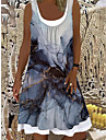 Women\'s Shift Dress Knee Length Dress Blue Sleeveless Print Fake two piece Print Spring Summer Boat Neck Elegant Casual Holiday Loose 2021 S M L XL XXL 3XL