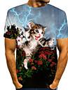 Tee T-shirt Homme 3D effet Chat Imprimes Photos Imprime Manches Courtes Quotidien Vacances Standard Polyester Simple Designer Grand et grand Col Rond / Ete