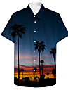Men\'s Shirt 3D Print Scenery Coconut Tree Plus Size 3D Print Button-Down Short Sleeve Casual Tops Casual Fashion Breathable Comfortable Blue / Sports