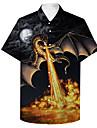 男性用 シャツ 3Dプリント ドラゴン 動物 プラスサイズ 3Dプリント ボタンダウン 半袖 カジュアル トップの カジュアル ファッション 高通気性 快適 ブラック / スポーツ