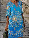 Women\'s A Line Dress Knee Length Dress Light Blue Short Sleeve Pattern Summer Casual 2021 S M L XL XXL XXXL