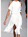 Women\'s A Line Dress Knee Length Dress White Black Gray Sleeveless Solid Color Split Spring Summer cold shoulder Elegant Casual 2021 S M L XL XXL 3XL