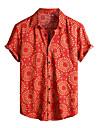Per uomo Camicia Tribale Manica corta Quotidiano Top Cotone Essenziale Boho Colletto classico Rosso / Spiaggia