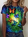 Dámské Motýl Obraz Tričko Grafika Motýl Tisk Kulatý Základní Topy Vodní modrá