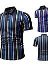 رجالي قميص الجولف قميص تنس مطبوعات أخرى مخطط كم قصير فضفاض قمم كاجوال أزرق أصفر / الصيف