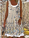 Women\'s A Line Dress Knee Length Dress Light Pink Light Blue Green 1 black. Beige Sleeveless Floral Floral Print Spring Summer Round Neck Casual 2021 S M L XL XXL