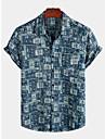 Per uomo Camicia Tribale Manica corta Quotidiano Top Cotone Essenziale Boho Colletto classico Blu marino / Spiaggia