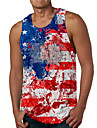 Men\'s Tank Top Undershirt 3D Print Tie Dye American Flag Independence Day Flag Print Sleeveless Daily Tops Casual Designer Big and Tall Round Neck Red / Summer