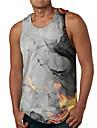 Hombre Camiseta sin mangas Camisetas Interiores Impresion 3D Bloques Estampados Estampado Sin Mangas Diario Tops Casual De Diseno Grande y alto Gris