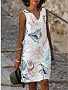 Női A vonalú ruha Térdig érő ruha Lóhere Fehér Rubin Ujjatlan Virágos Nyomtatott Nyomtatott Nyár V-alakú Elegáns Alkalmi Bő 2021 S M L XL XXL 3XL 4XL