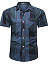 男性用 Tシャツ シャツ その他のプリント タータン・チェック プリント 半袖 カジュアル トップの コットン カジュアル 高通気性 ビーチスタイル ブルー グレー