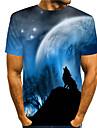 Hombre Tee Camiseta Impresion 3D Estampados Lobo Estampado Manga Corta Diario Tops Casual De Diseno Grande y alto Azul Piscina