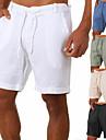 Homens Esportivo Casual / esportivo Roupa de rua Secagem Rapida Respiravel Macio chines Calcao Bermudas Diario Esportes Calcas Cor Solida Curto Com Cordao Cintura elastica Azul Vinho Cinzento Caqui
