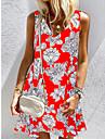 Women\'s A Line Dress Short Mini Dress Blue Purple Orange White Red Sleeveless Print Flower Spring Summer Round Neck Casual / Daily 2021 S M L XL XXL 3XL 4XL 5XL