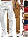 Homens a moda Estilo Classico Casual Chino Respiravel Macio Reto Calcas chines Algodao Delgado Casa Diario Calcas Cor Solida Mimolet com bolso lateral Frente do botao Amarelo Rosa Caqui Cinzento