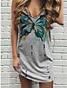 Women\'s Shift Dress Short Mini Dress Blue Gray Green Sleeveless Floral Butterfly Print Summer V Neck Casual Holiday 2021 S M L XL XXL 3XL