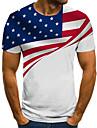 Men\'s Unisex Tee T shirt Shirt 3D Print Graphic Prints Flag Plus Size Print Short Sleeve Casual Tops Basic Fashion Designer Big and Tall Round Neck White